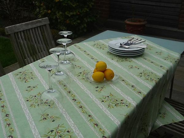 Tischdecke Provence Baumwolle 120x155 cm Oliviers vert aus Frankreich