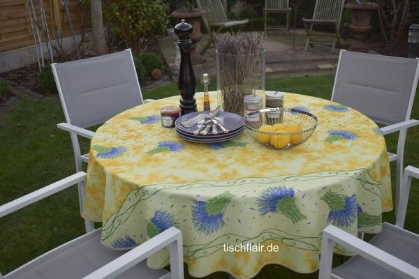 Da, wo der Lavendel wohnt...! – Glanzvolle Tischdecke in Gelb mit Lavendelstäußchen 1