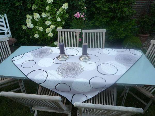 Tischdecke Provence 130x150 cm grau Kreismuster aus Frankreich