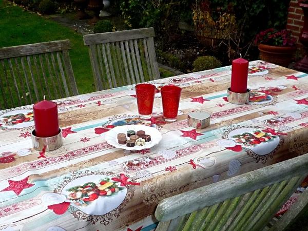Tischdecke Provence 150x300 cm beige rot Weihnachten aus Frankreich