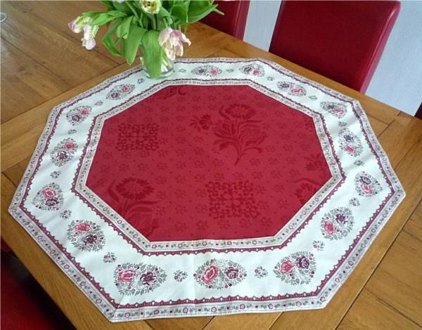 Vom Feinsten! – Hochwertige Matelassé-Tischdecke La Rose Rouge-rot achteckig