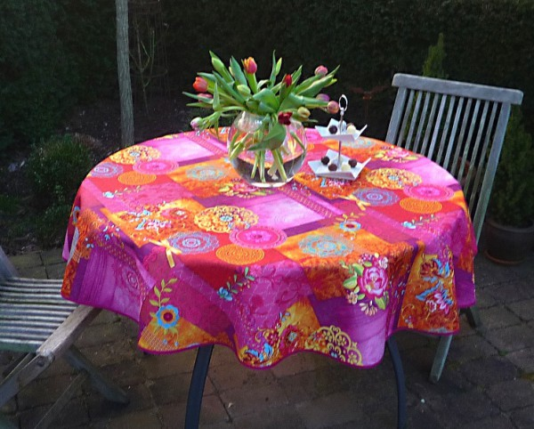 Tischdecke Provence 160 cm rund pink Blumenmotive aus Frankreich