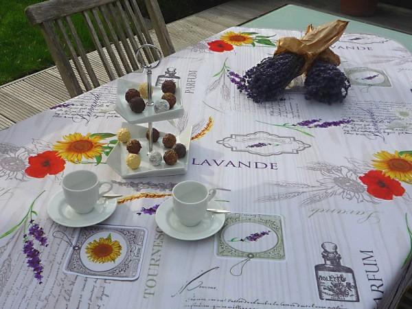 Tischdecke Provence 120x150 cm creme Sonnenblumen Lavendel aus Frankreich