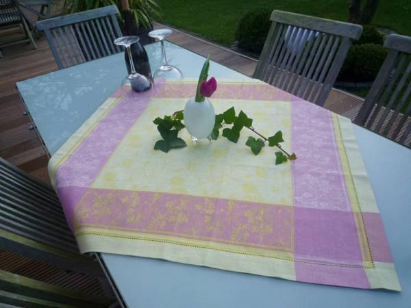 Tischdecke Jacquard Leinen 84x84 cm Papillon vert lilas mit Hohlsaum