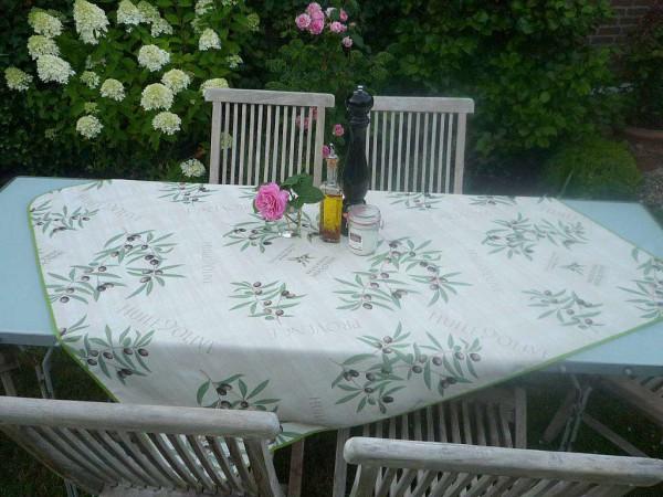 Tischdecke Provence 130x150 cm creme Olivenmotive aus Frankreich