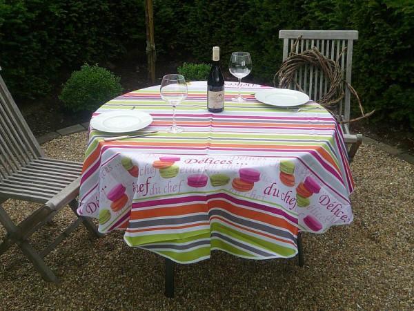 Tischdecke Provence 180 cm rund weiß Macarons und Streifen aus Frankreich
