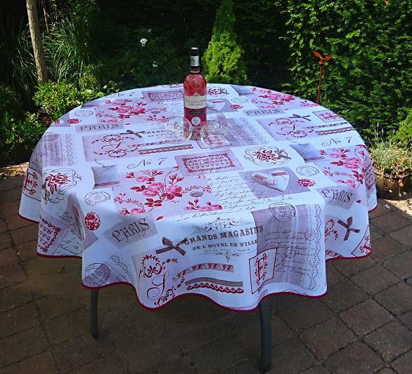 Tischdecke Provence 160 cm rund beige rot Rosenmotive aus Frankreich