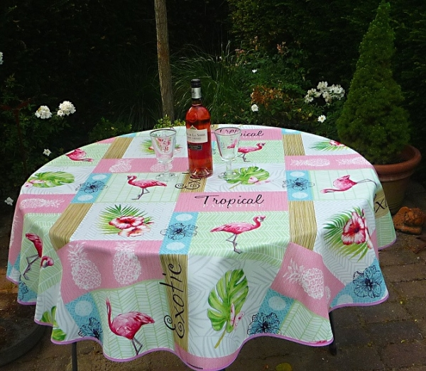 Tischdecke Provence 160 cm rund rosa grün Flamingomotiv aus Frankreich