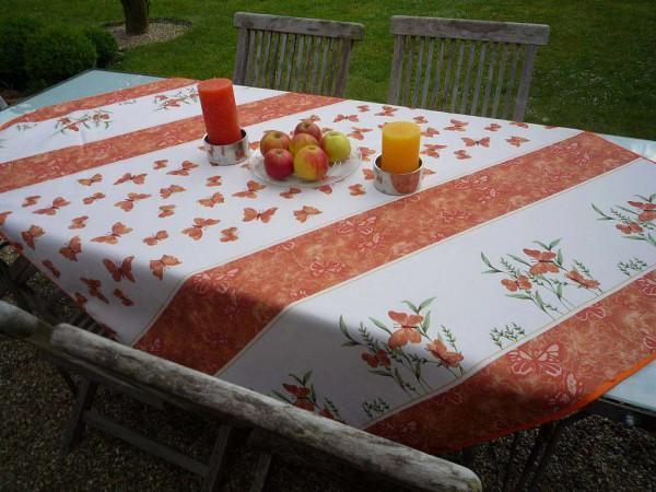Tischdecke Provence 130x150 cm terrakotta Schmetterlinge aus Frankreich