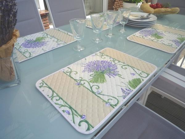 Die Provence für zu Hause! – Tischset Baumwolle Lavande Creme mit Acrylierung