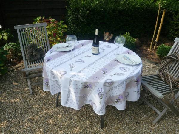 Tischdecke Provence 180 cm rund beige weiß Lavendelmotive aus Frankreich