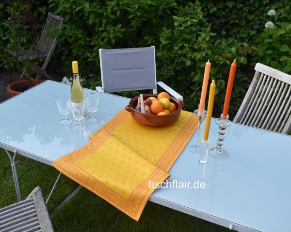 Sommerflirt in gelb...- Edler Jacquard Tischläufer Cigale jaune 5