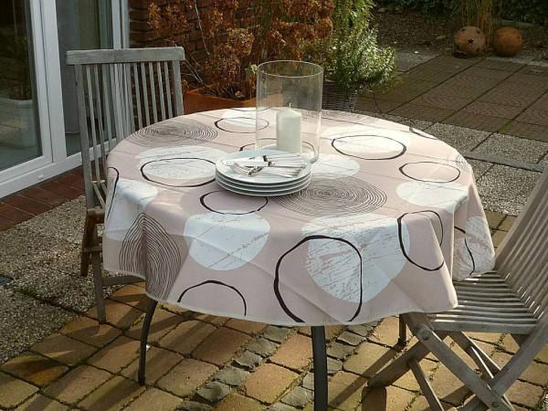 Tischdecke Provence 160 cm beige Kreismuster aus Frankreich