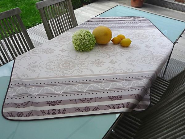 Tischdecke Provence 120x120 cm creme grau Ornamentmotiv aus Frankreich