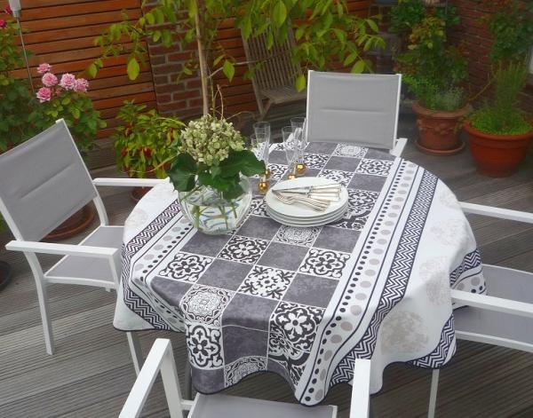 Im modernen Country-Style! – Pflegeleichte Tischdecke in Schwarz, Grau und Weiß