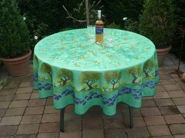 Tischdecke Provence 180 cm rund grün Oliven Lavendel aus Frankreich