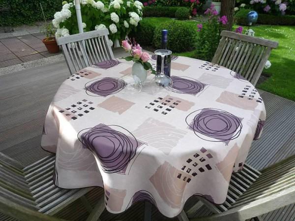Tischdecke Provence 160 cm rund beige aus Frankreich pflegeleicht und bügelfrei