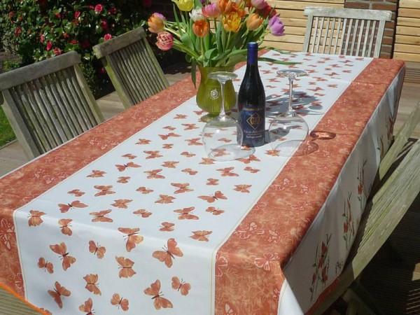 Tischdecke Provence 150x240 cm oval terrakotta Schmetterlinge aus Frankreich