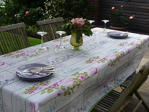 Tischdecke Provence 150x240 cm oval hellgrau Rosenmotive aus Frankreich