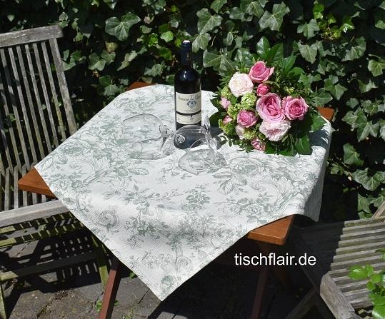 Lindgrün, französischer Charme! – Edle Jacquard Gobelin-Mitteldecke Cheverny in lindgrün