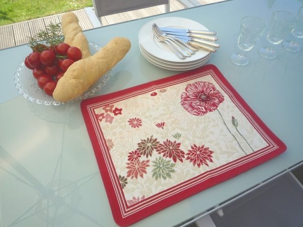 Mohntraum auf dem Tisch – Jacquard Tischset Coquelicot creme rouge