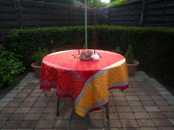 Tischdecke Jacquard Baumwolle rot 160x160 cm Rigard rouge aus Frankreich Provence mit Teflonschutz