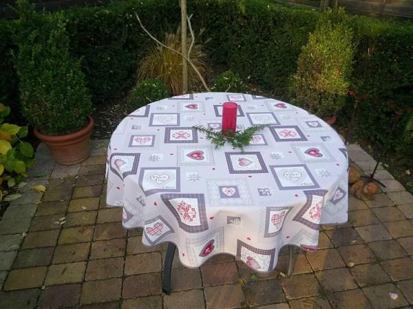 Tischdecke Provence 160 cm grau Weihnachten aus Frankreich