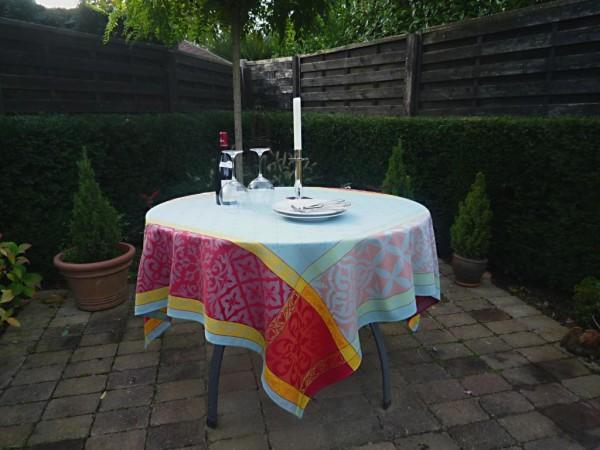 Tischdecke Provence 160x160 cm Baumwolle Jacquard Rigard bleu