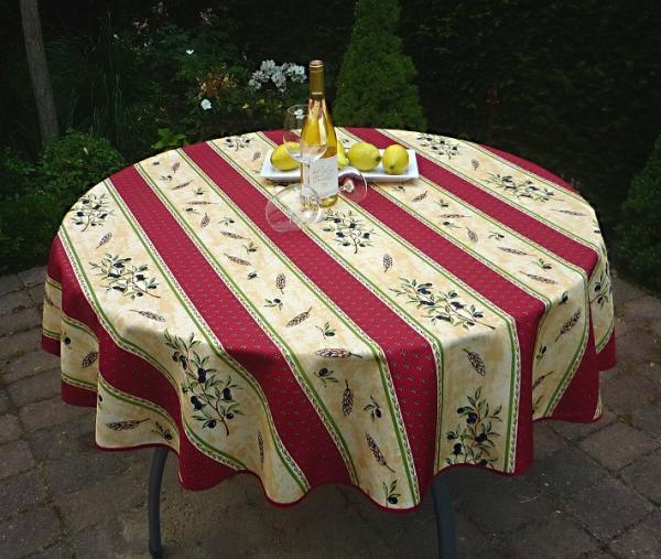 Tischdecke Provence 160 cm rund rot sand Olivenmotiv aus Frankreich