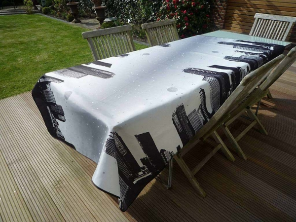 Tischdecke Provence 150x240 cm schwarz grau Skyline aus Frankreich