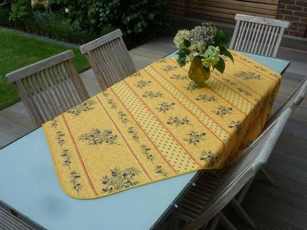 Erfrischend – Sonnengelb! – Muntermacher – Bügelfreie Oliven-Tischdecke in Sonnengelb