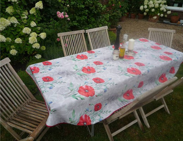 Tischdecke Provence 150x240 cm oval Mohnblumen grau aus Frankreich