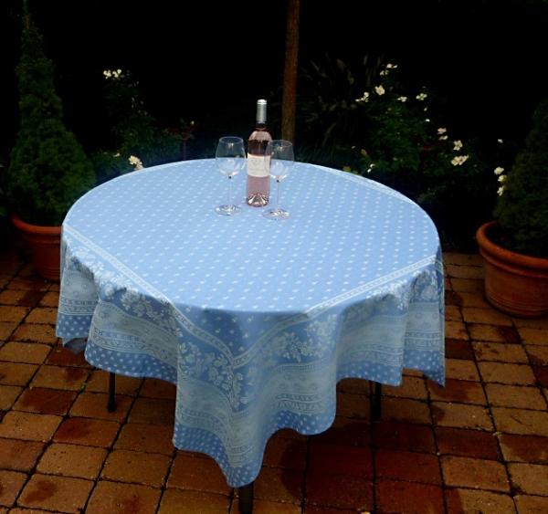 Tischdecke Provence 160x160 cm Jacquard Cigale bleu