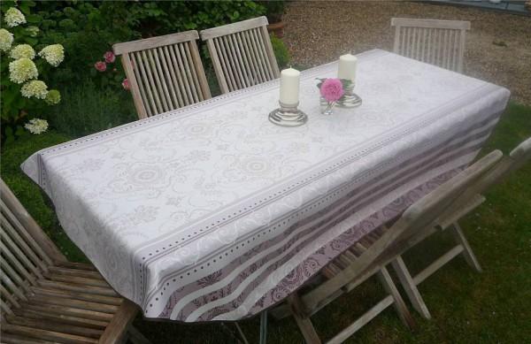 Tischdecke Provence 150x240 cm oval creme grau Ornamentmotiv aus Frankreich