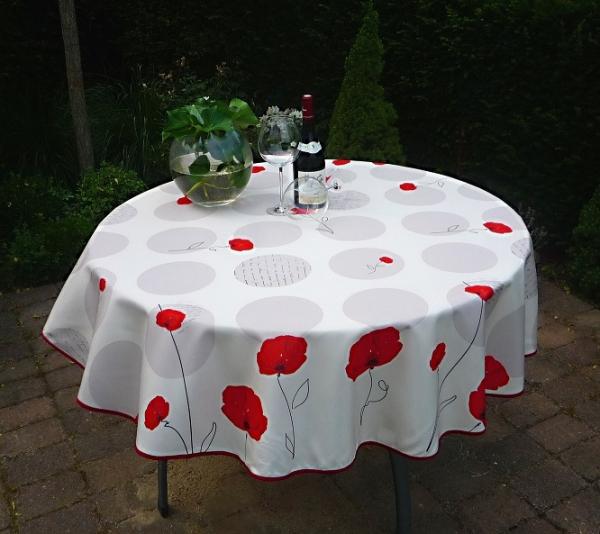 Tischdecke Provence 160 cm rund weiß Mohnblumen aus Frankreich
