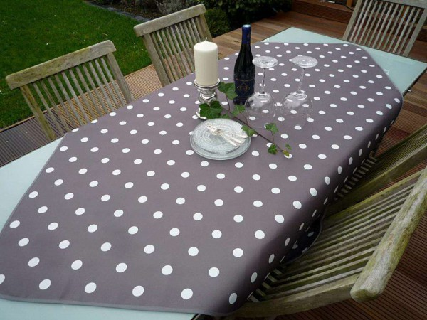 Tischdecke Provence 130x150 cm taupe Punkte weiß aus Frankreich