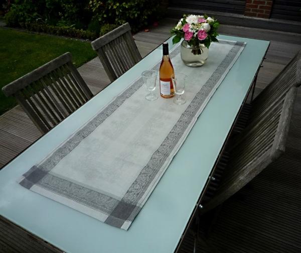 Tischläufer Jacquard Leinen 50x170 cm Classique gris mit Hohlsaum