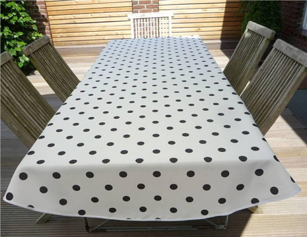 Tischdecke Provence 150x240 cm oval weiß Punkte schwarz aus Frankreich 4