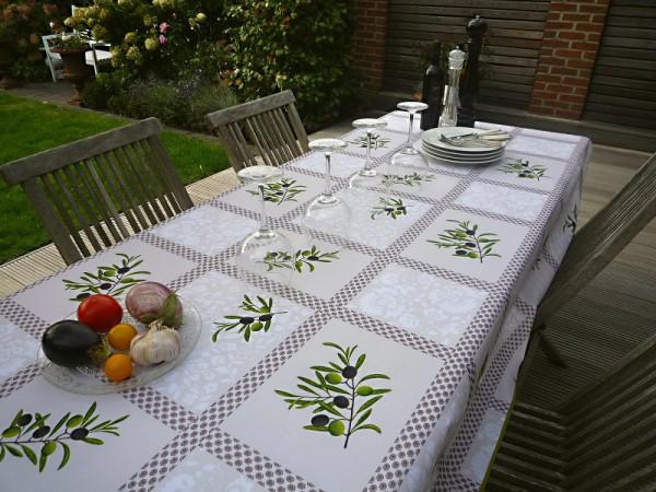 Tischdecke Provence 150x240 cm creme Olivenmotive aus Frankreich