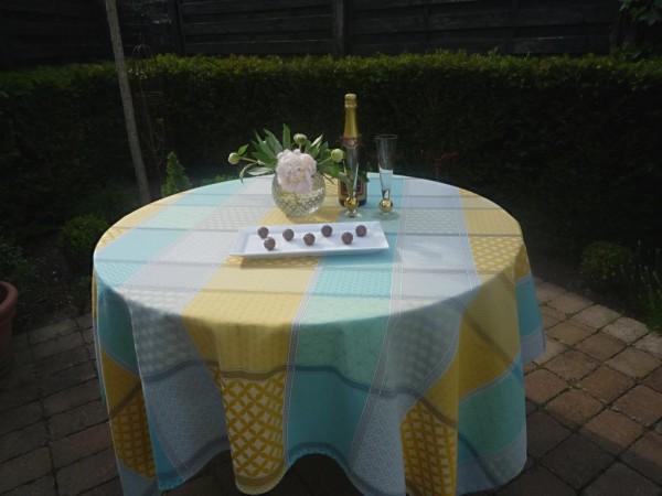 Träume in Pastell: Jacquard-Tischdecke Baumwolle Jacquard Loire gelb-grau-türkis