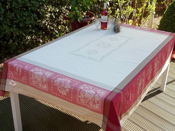 Tischdecke Jacquard Baumwolle 160x200 cm Marseille rouge aus Frankreich Provence mit Teflonschutz