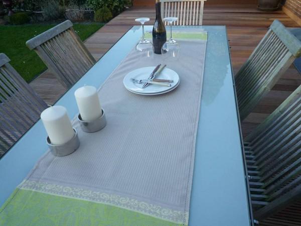 Mustermix mal ganz pur... - Aparter Jacquard-Tischläufer Phantasia beige vert