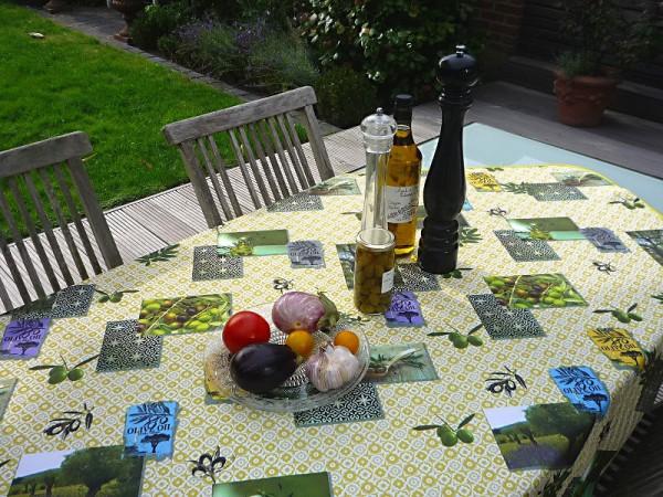 Tischdecke Provence 120x150 cm Olivenmotive grün aus Frankreich