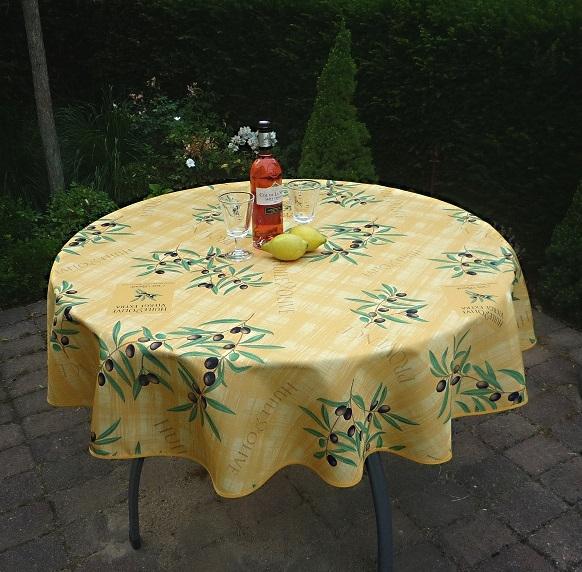 Tischdecke Provence 160 cm rund gelb Olivenmotive aus Frankreich