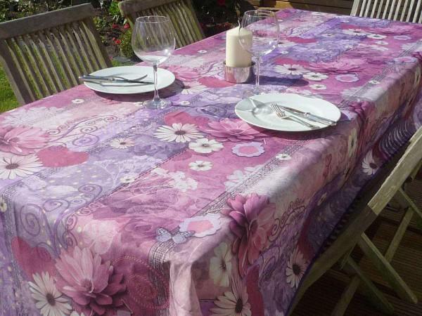 Tischdecke Provence 150x240 cm Blumenmotive lila aus Frankreich