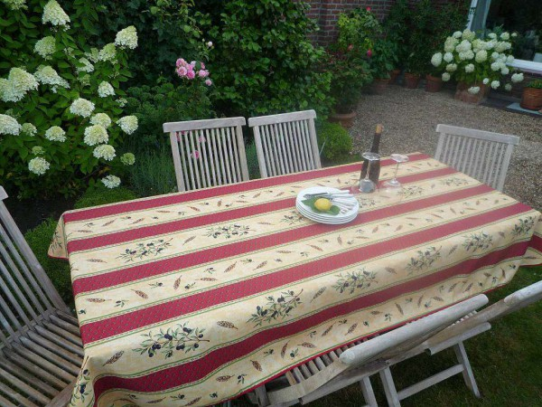 Tischdecke Provence 150x200 cm rot sand Olivenmotiv aus Frankreich