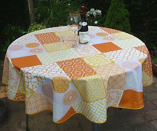 Tischdecke Provence 160 cm rund terrakotta gelb Ornamentmotiv aus Frankreich