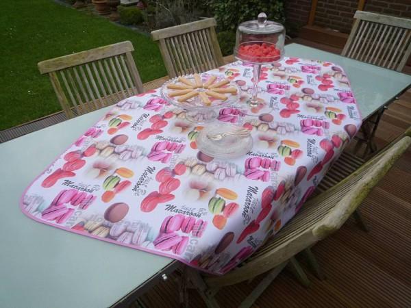 Tischdecke Provence 100x150 cm weiß rosa Macaron aus Frankreich