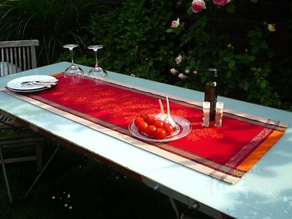 Tischläufer Jacquard Baumwolle rot 50x150 cm Menton rouge aus Frankreich Provence mit Teflonschutz