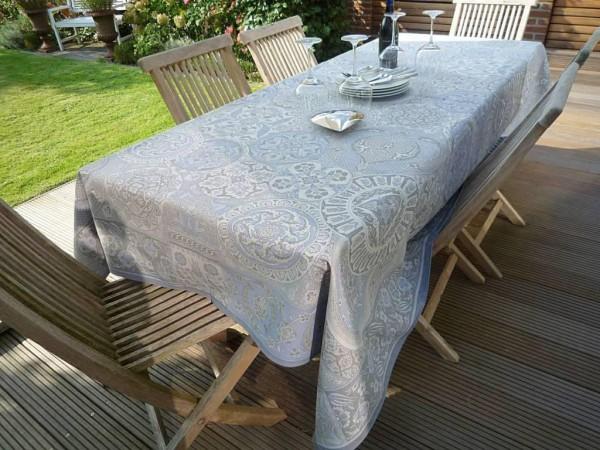 Tischdecke Jacquard Baumwolle 160x200 cm Cassis bleu aus Frankreich Provence mit Teflonschutz